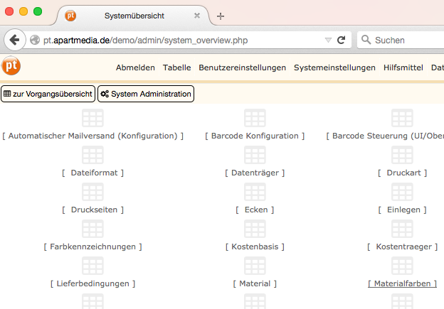 Die PTworkflow Systemadministration