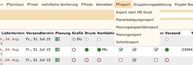 PTreport – Auswertungen/ Reporting